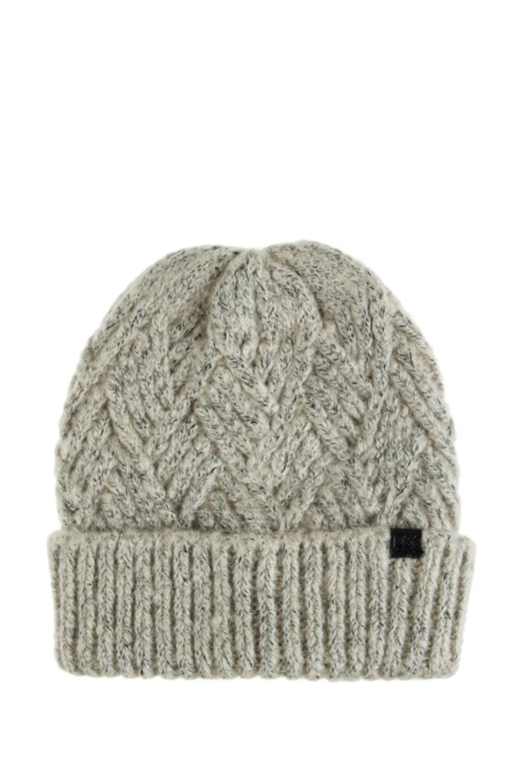 EcoVibe Style - Diamond Basked Weave Beanie in Beige, Hat