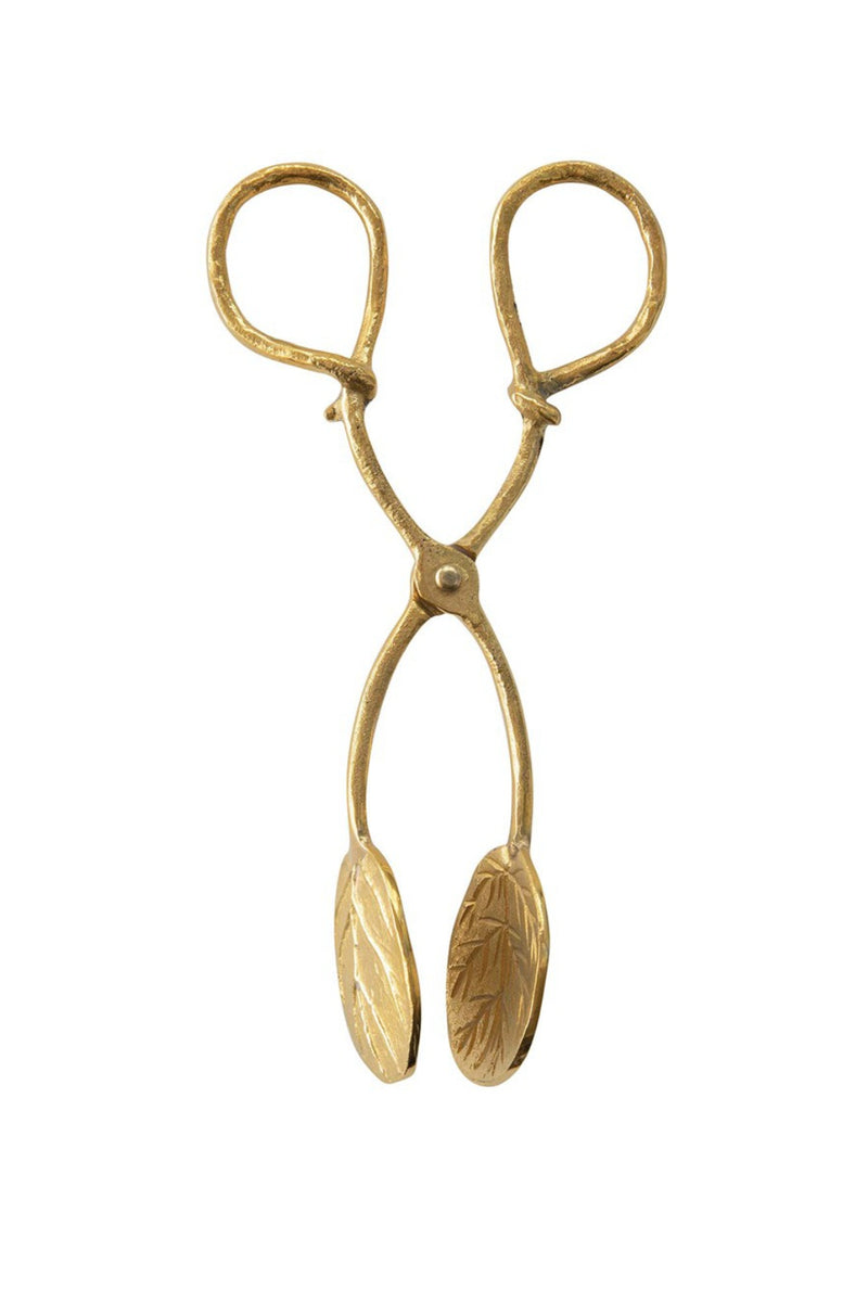 Creative Co-op Brass Leaf Tongs