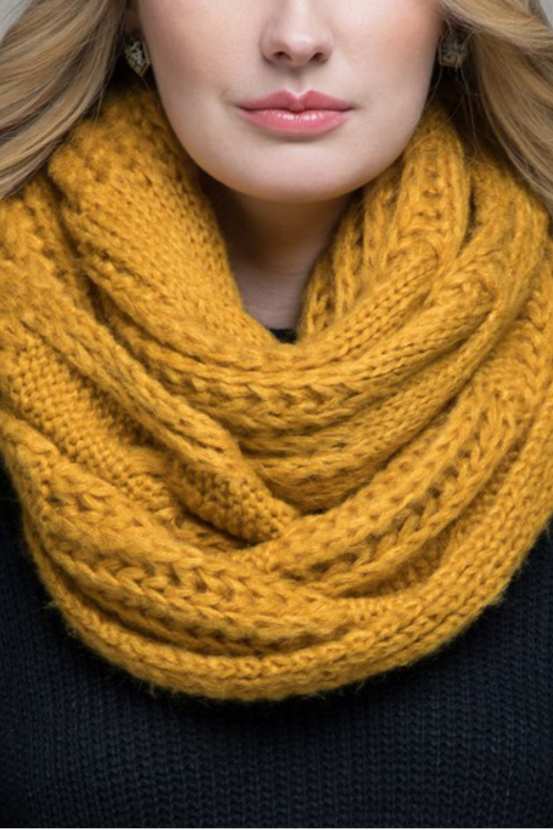 EcoVibe Soft Cable Knit Infinity Scarf in Mustard