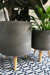 UMA Home Decor Etched Charcoal Fiber Clay Planter w/Wood Legs