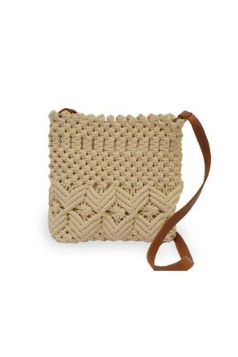 Anabaglish Lani Macramé Bag in Cream