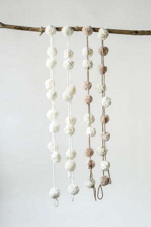 Creative Co-Op Tinsel Pom Pom Garland