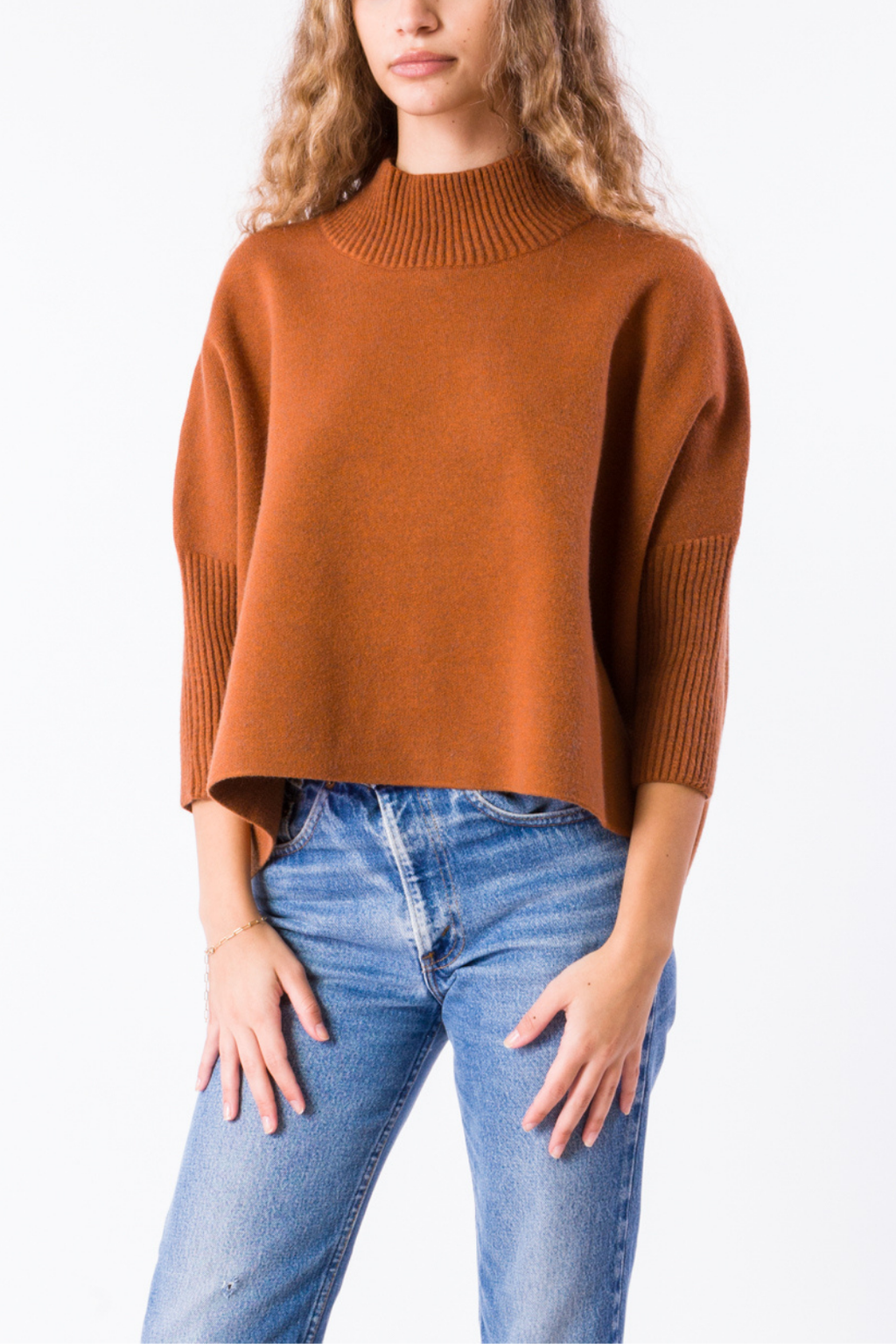 ECOVIBE Aja Crop Sweater in Cinnamon