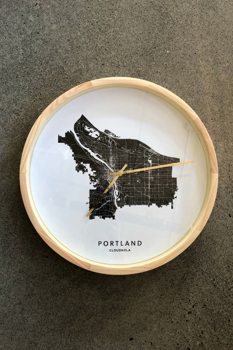 Cloudnola Portland City Map Clock