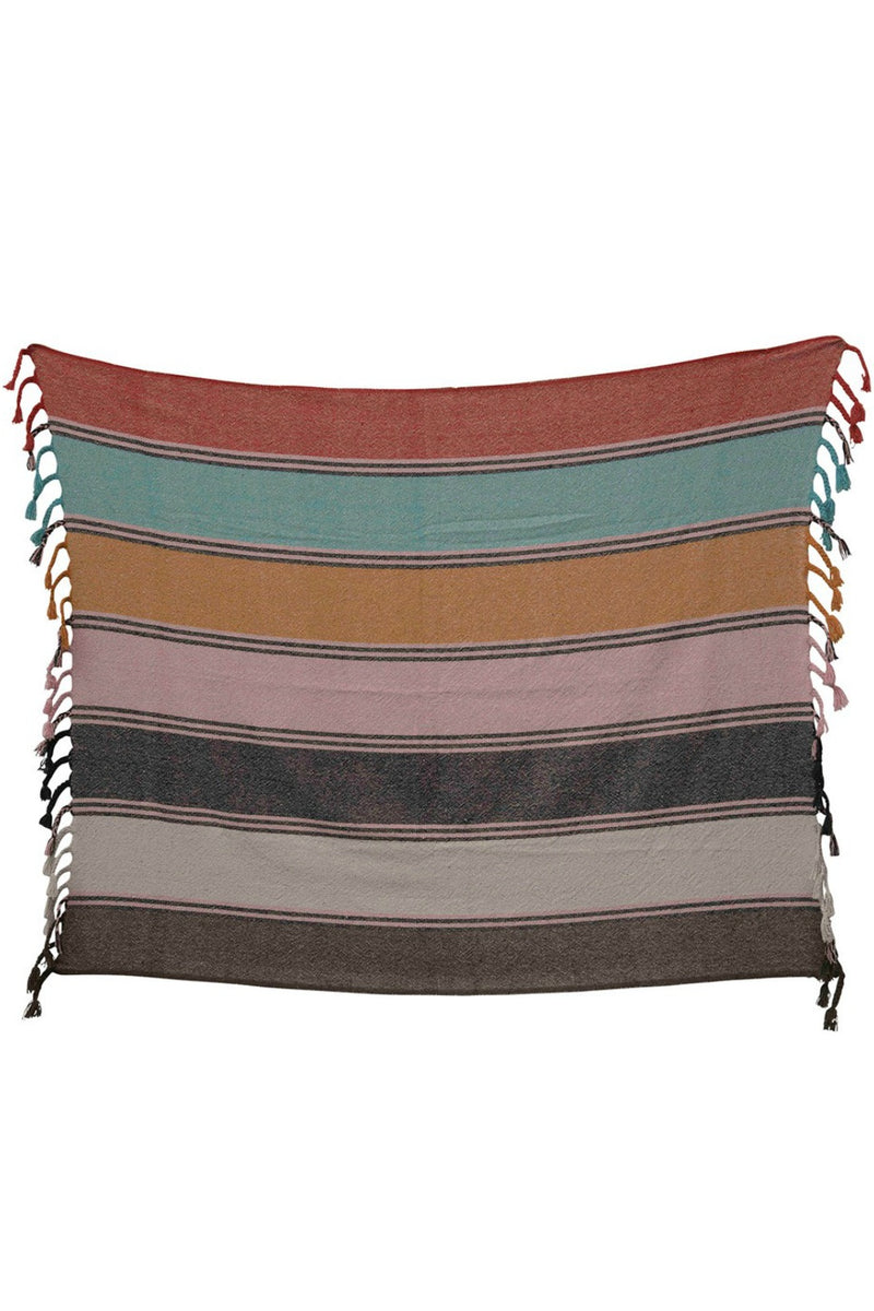 Creative Co-op Recycled Cotton Multi Stripe Throw
