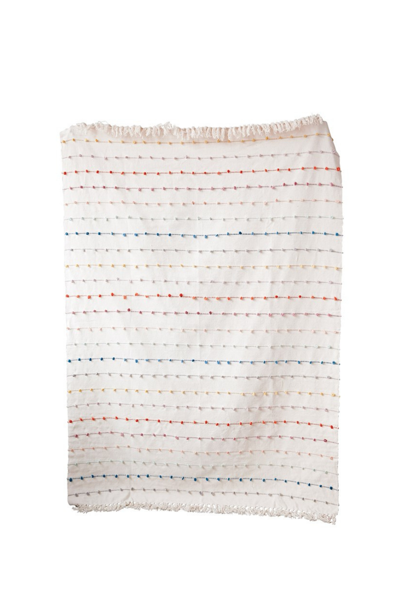 Creative Co-op Rainbow Loop Cotton Fringe Throw