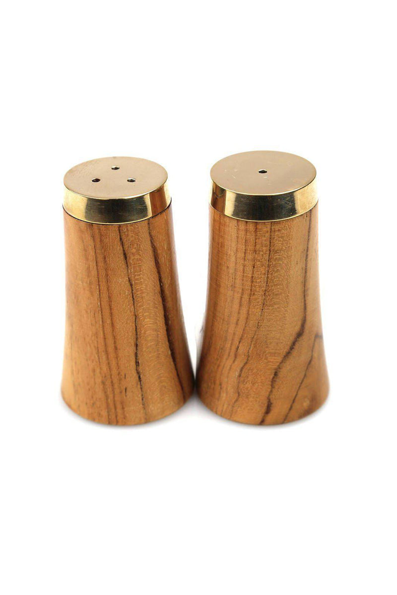 EcoVibe Style - Gold and Wood Salt & Pepper Shaker Set,