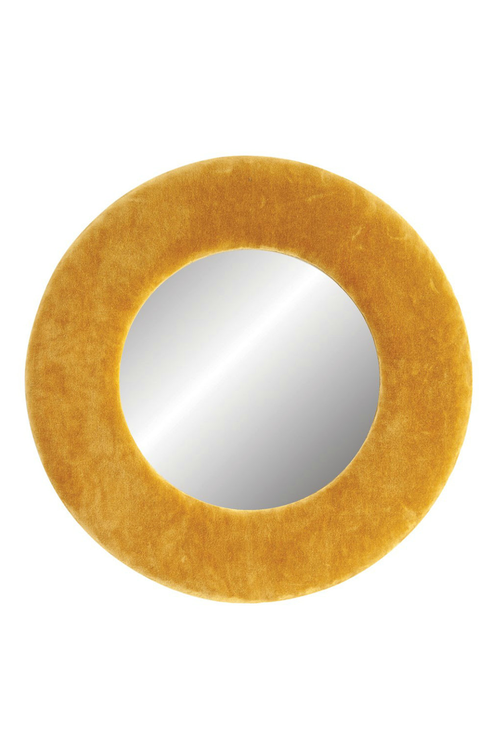 Creative Co-op Mustard Cotton Velvet Round Wall Mirror