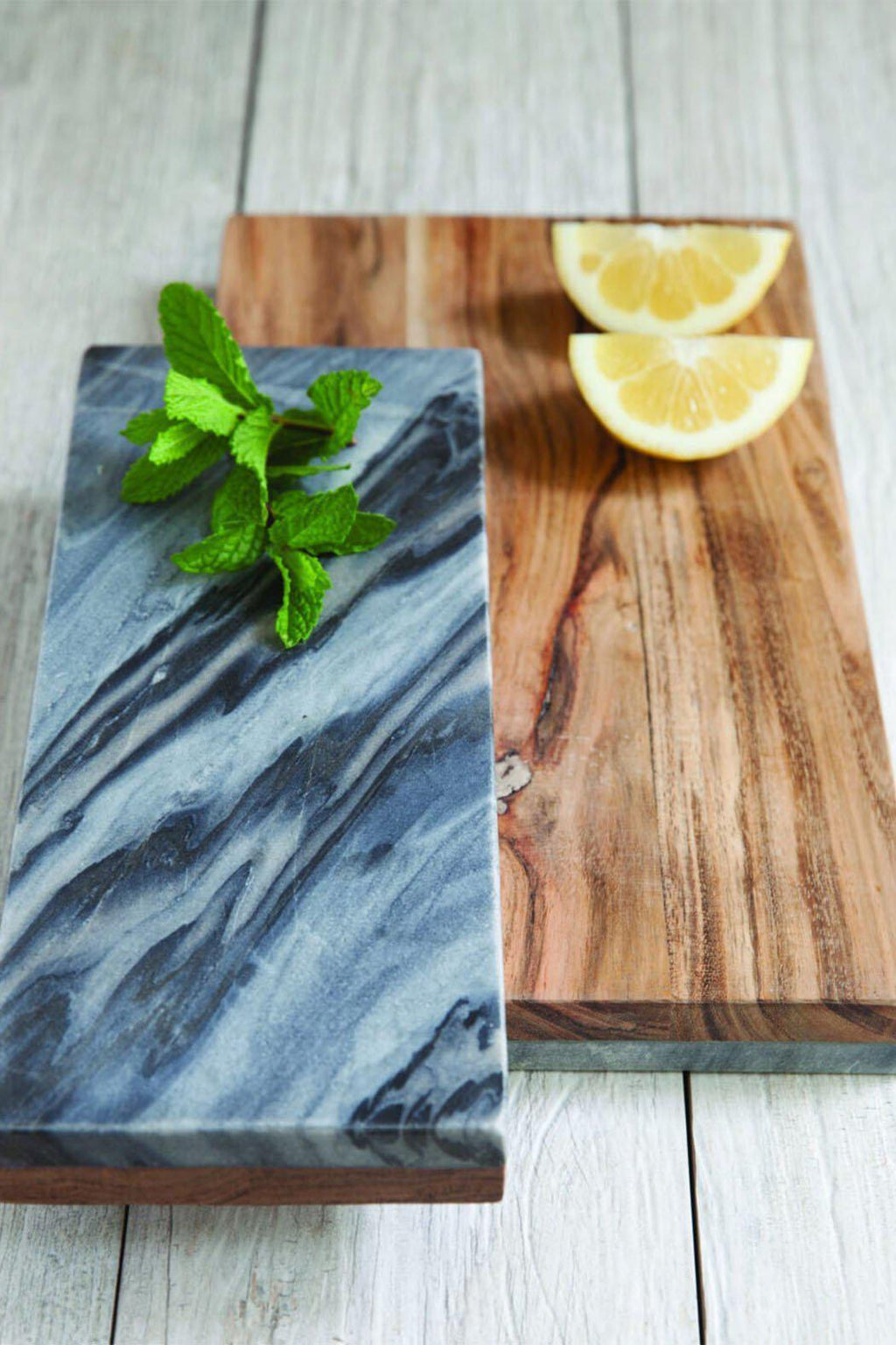 EcoVibe Style - Grey Marble & Wood Reversible Board,