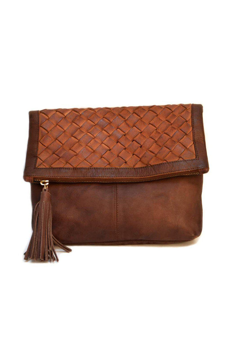 EcoVibe Style - Iris Leather Crossbody Clutch in Brown,