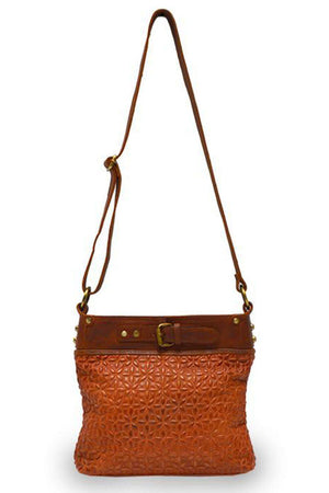 EcoVibe Style - Joan Quilted Crossbody Bag in Rust,