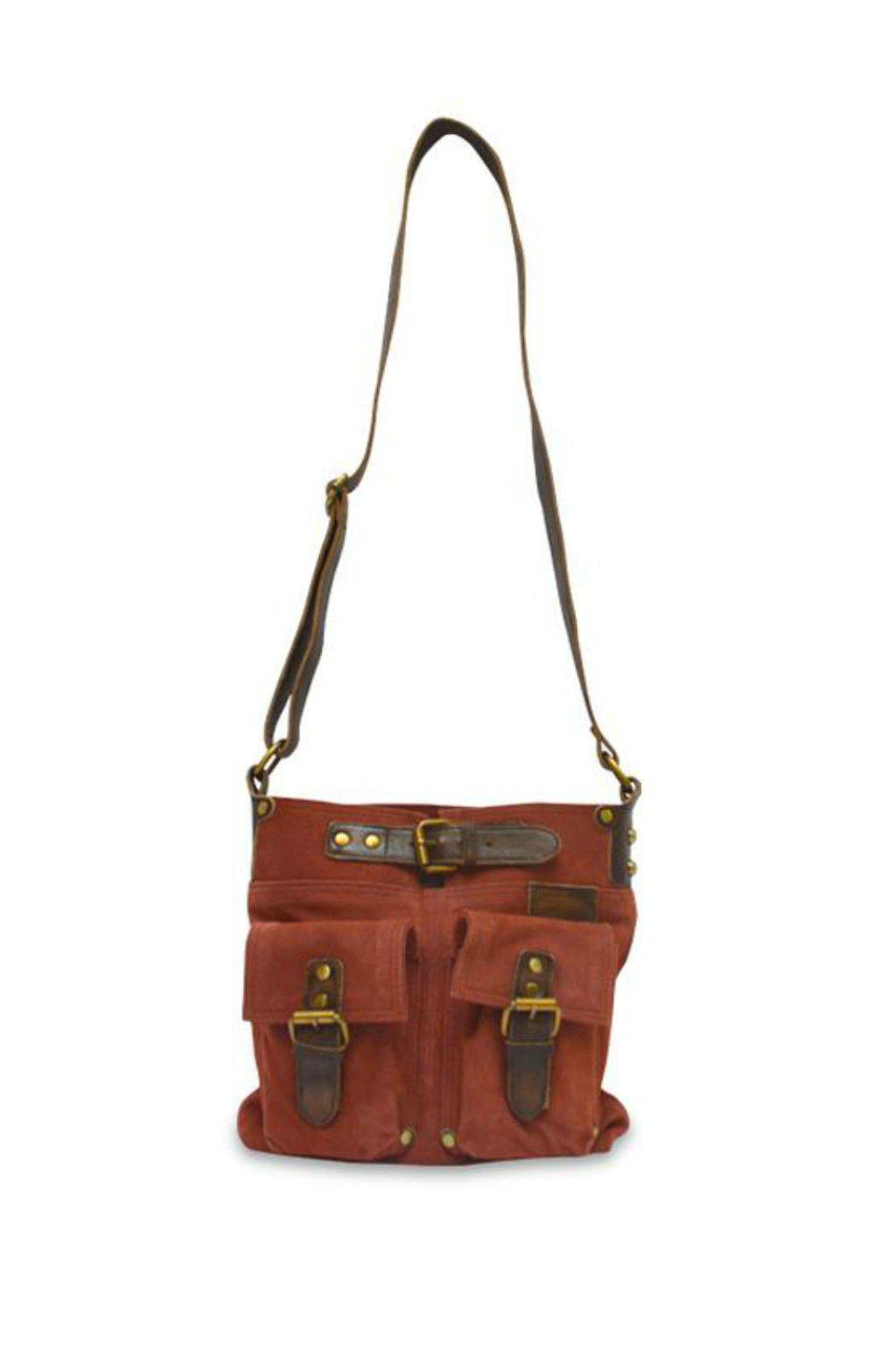 EcoVibe Style - Joan Suede Crossbody Bag in Mulberry,