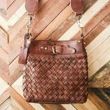 EcoVibe Style - Joan Woven Leather Bag in Brown,