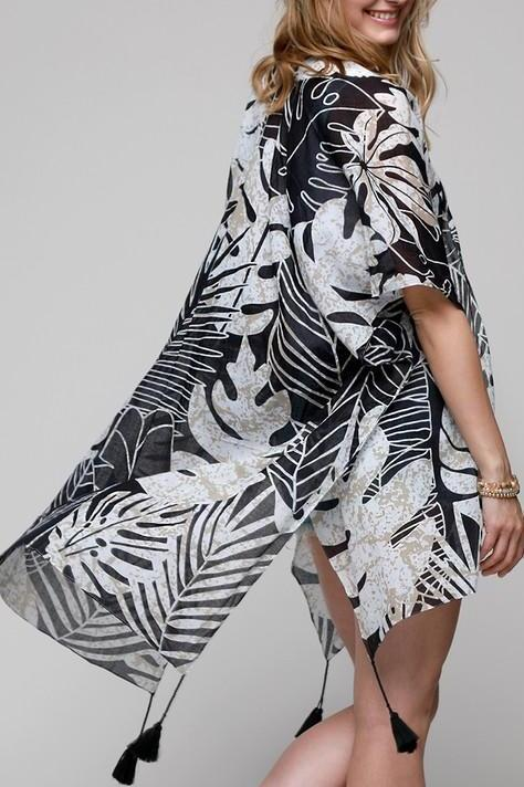 EcoVibe Style - Lucia Tropical Leaves Kimono in Black,