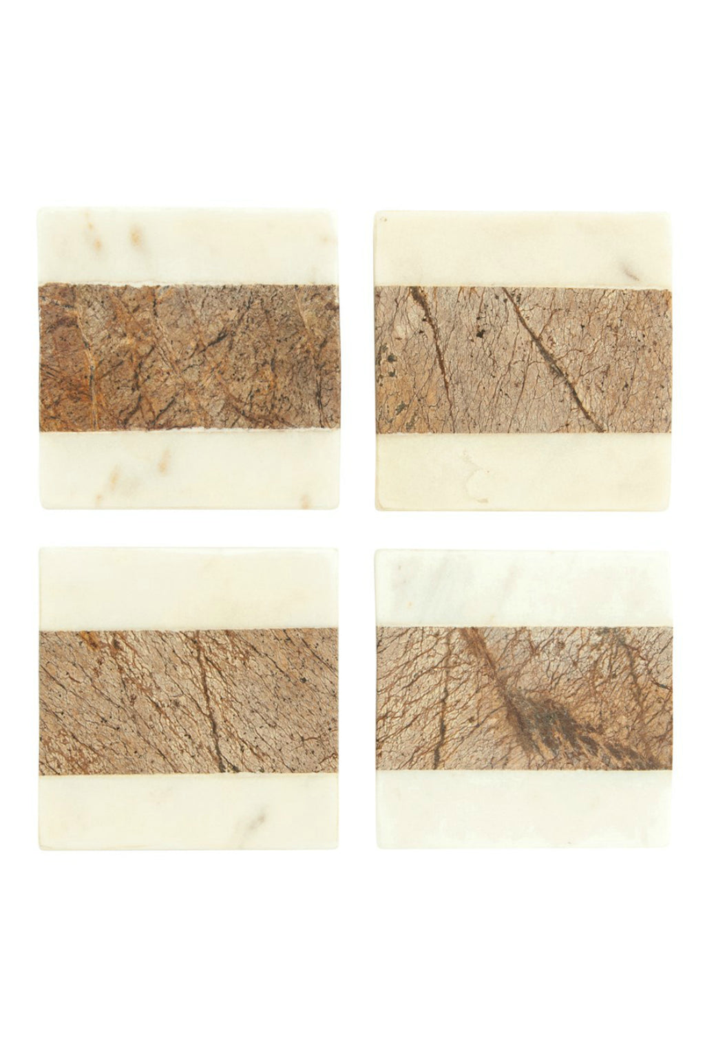 Creative Co-op White + Brown Marble Coasters