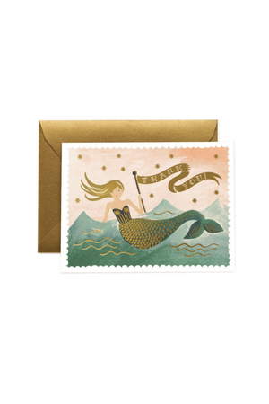 Rifle Paper Co. Vintage Mermaid Thank You Card