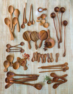 EcoVibe Style - Olive Wood Spoons, Set of 4,