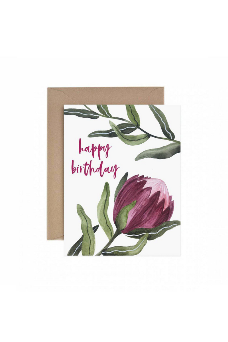 Paper Anchor Protea Happy Birthday Greetings Card