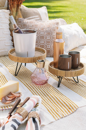Creative Co-op Woven Rattan Pedestal with Metal Feet