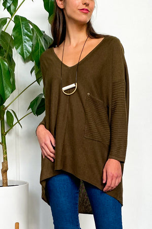 EcoVibe Ashlyn Ribbed Sweater in Army Olive