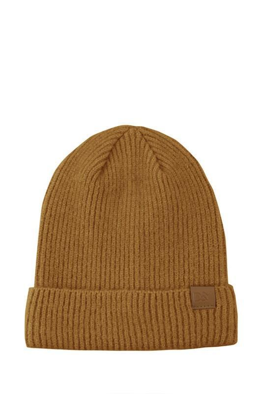 EcoVibe Style - Ribbed Knit Beanie in Mustard,