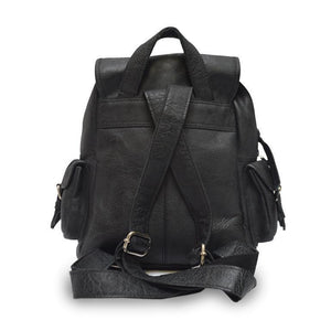 EcoVibe Style - Sadie Leather Backpack in Black,