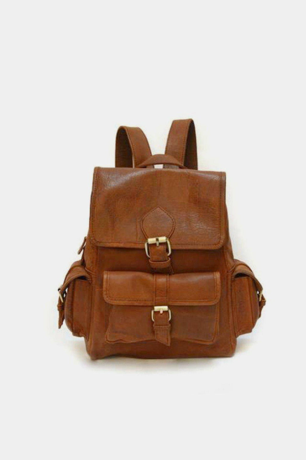 EcoVibe Style - Sadie Leather Backpack in Brown,