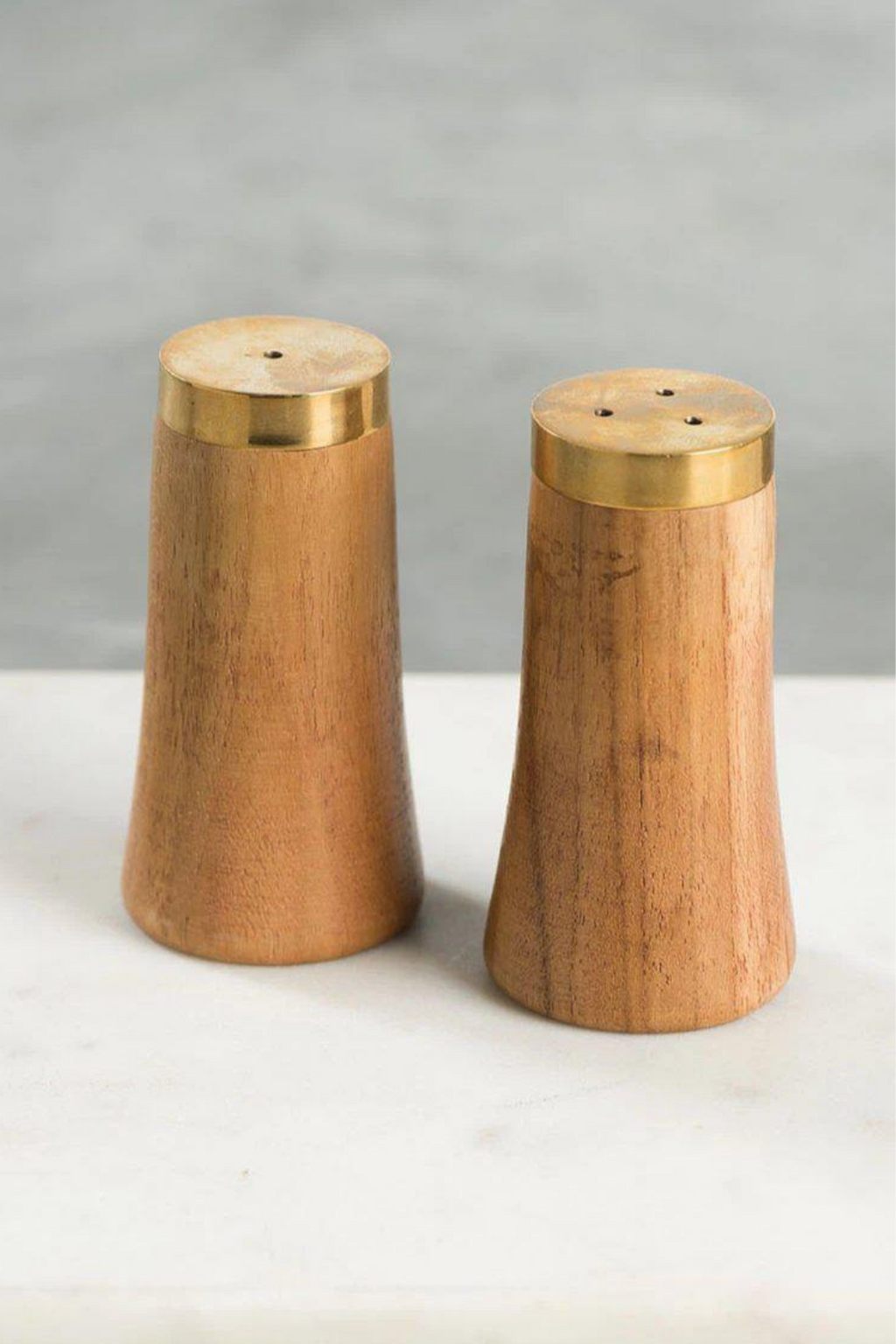 Be Home Gold & Wood Salt & Pepper Shakers