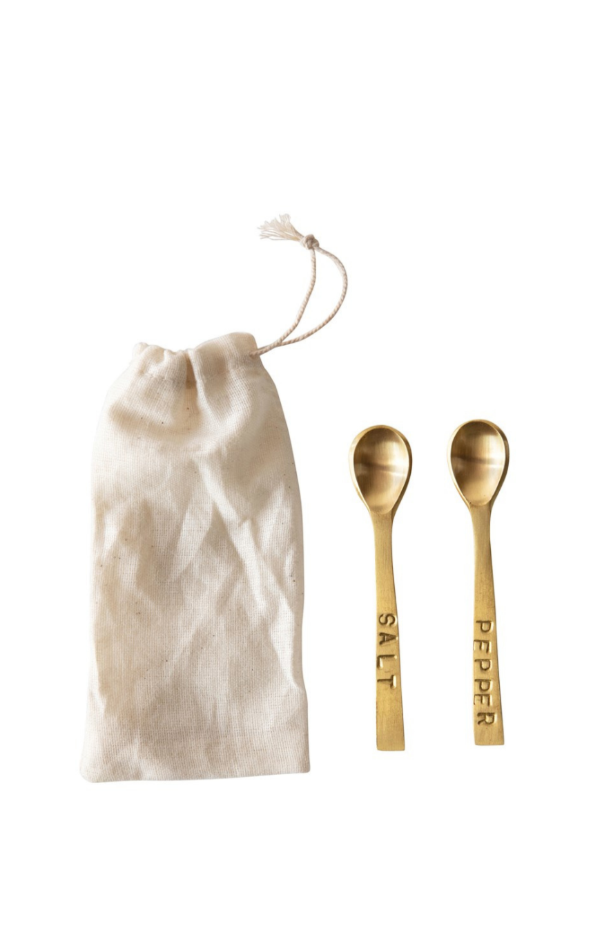 Creative Co-op Metal Salt + Pepper Spoon Set DF4409
