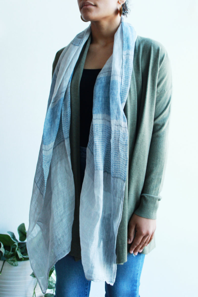 EcoVibe Linen Block Striped Scarf