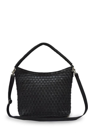 EcoVibe Style - Skylar Woven Leather Bag in Black,