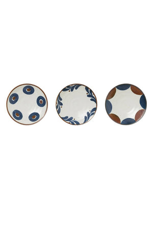 EcoVibe Style - Small Porcelain Bowl in White with Blue and Brown Pattern Inside, Kitchenware