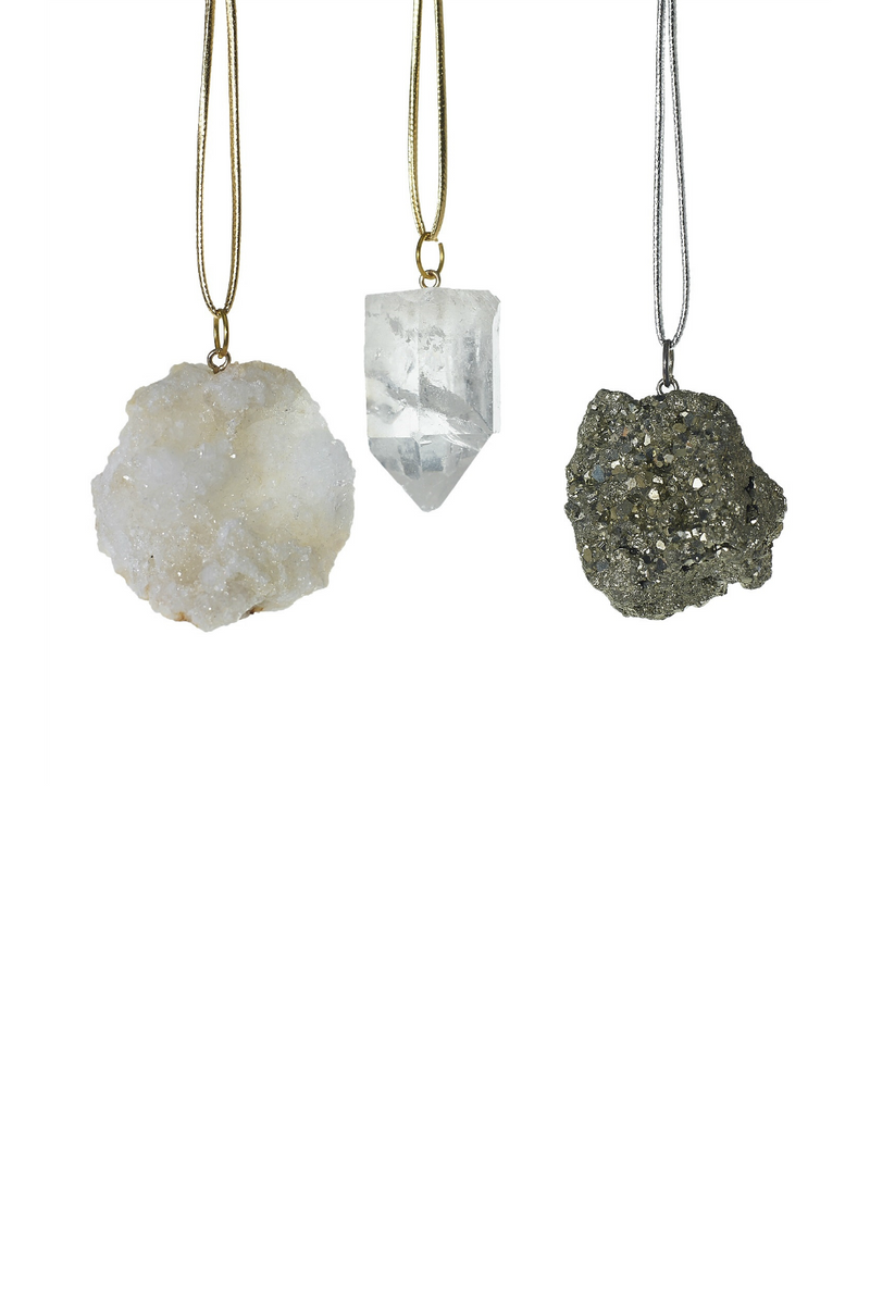 Accent Decor Stone Ornaments- Pyrite, Geode, Crystal