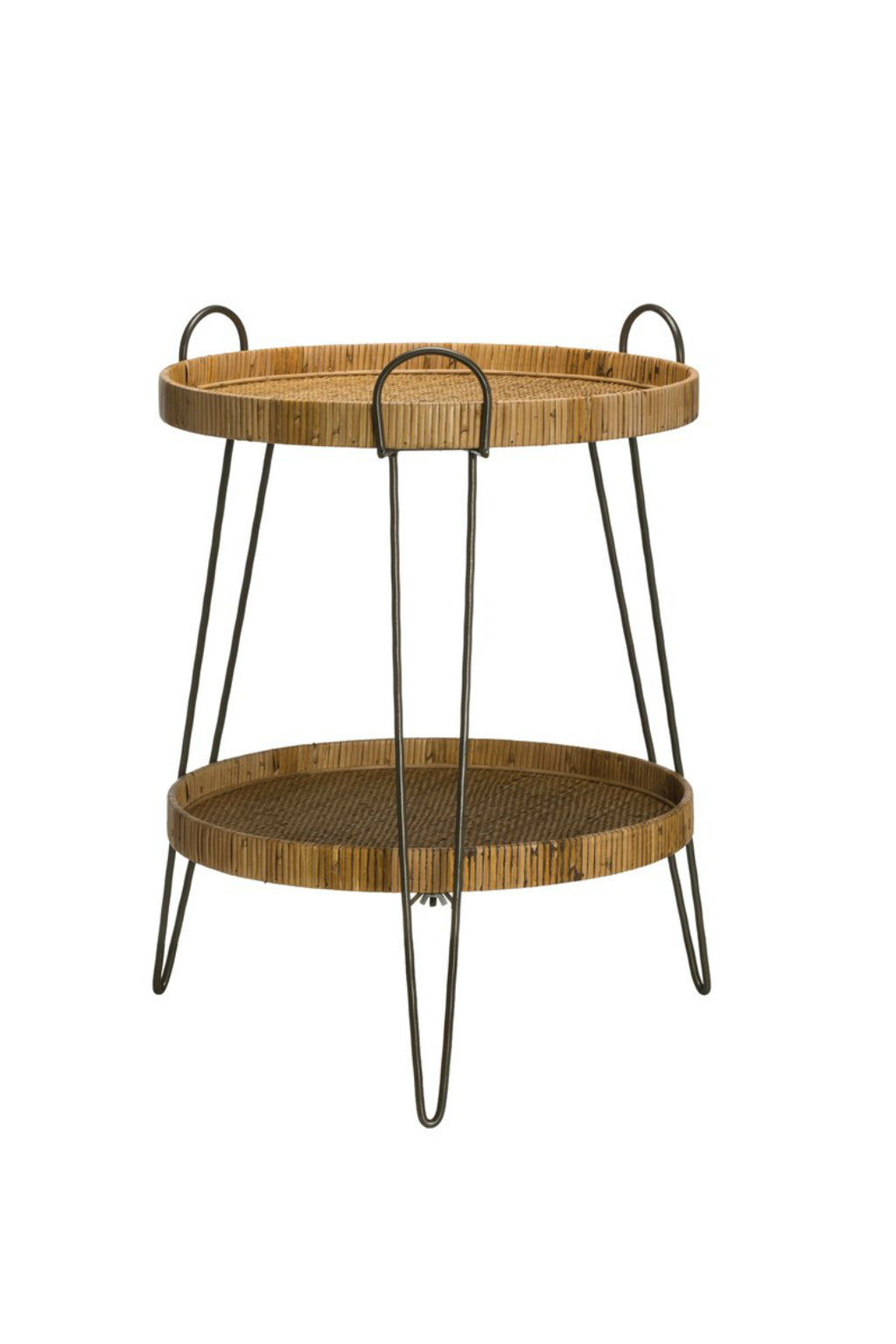 Creative Co-op Rattan 2-Tier Tray Table