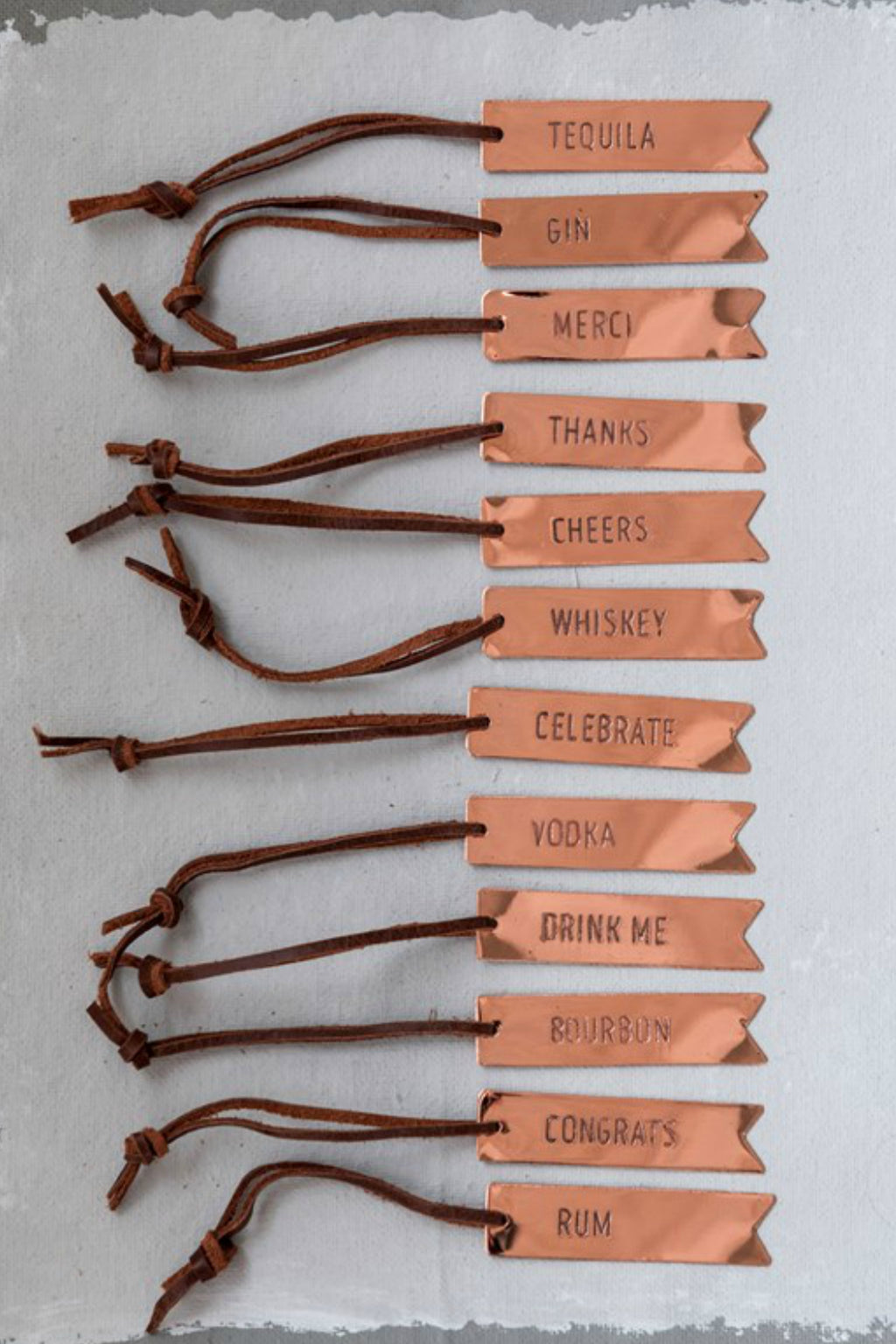 Creative Co-op Copper Bottle Tag with Leather Ties