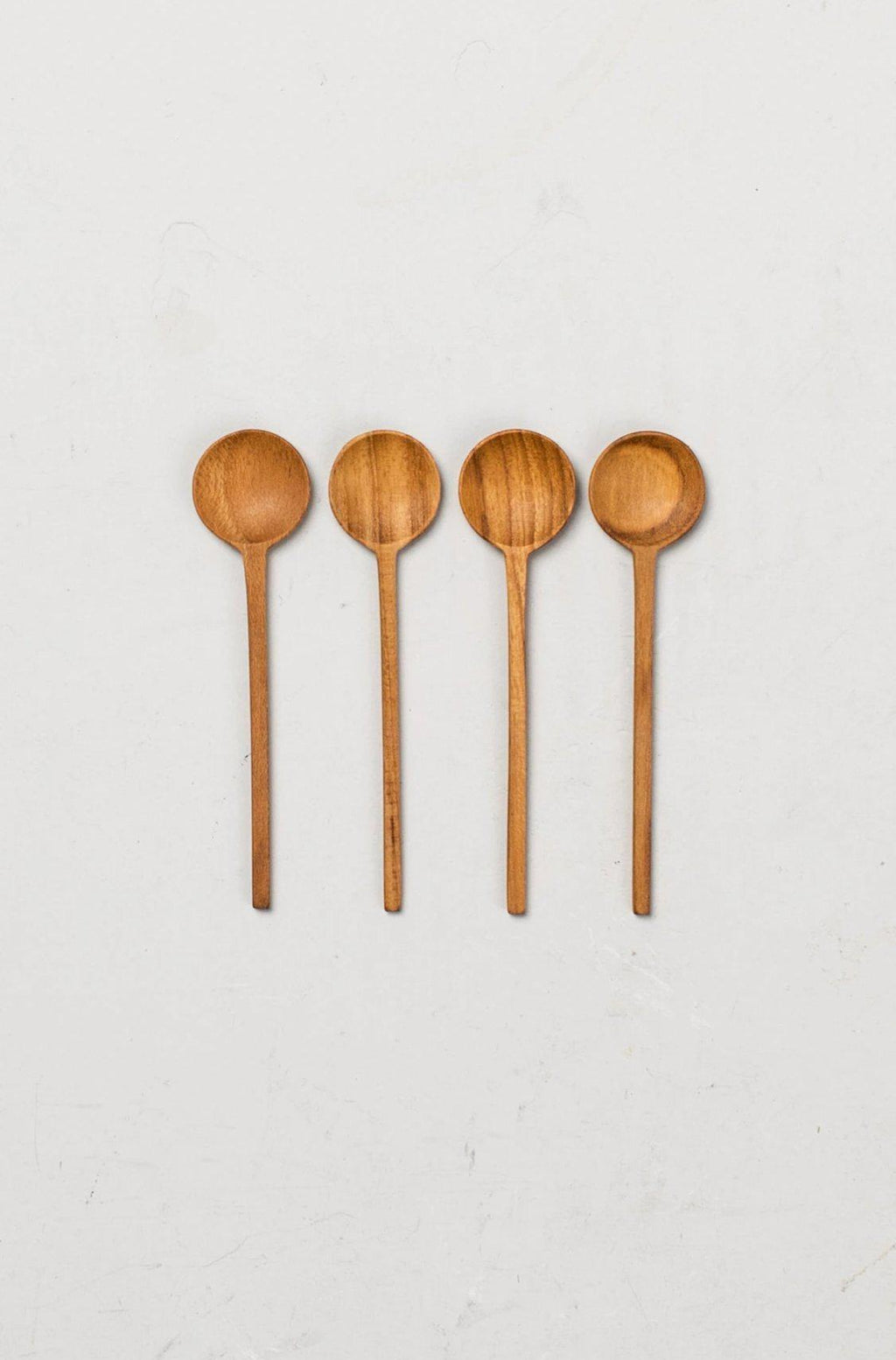 Be Home Teak Thin Mini Spoons, Set of 4