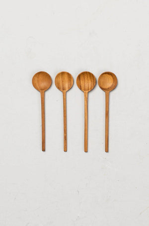 EcoVibe Style - Teak Thin Mini Spoons, Set of 4,