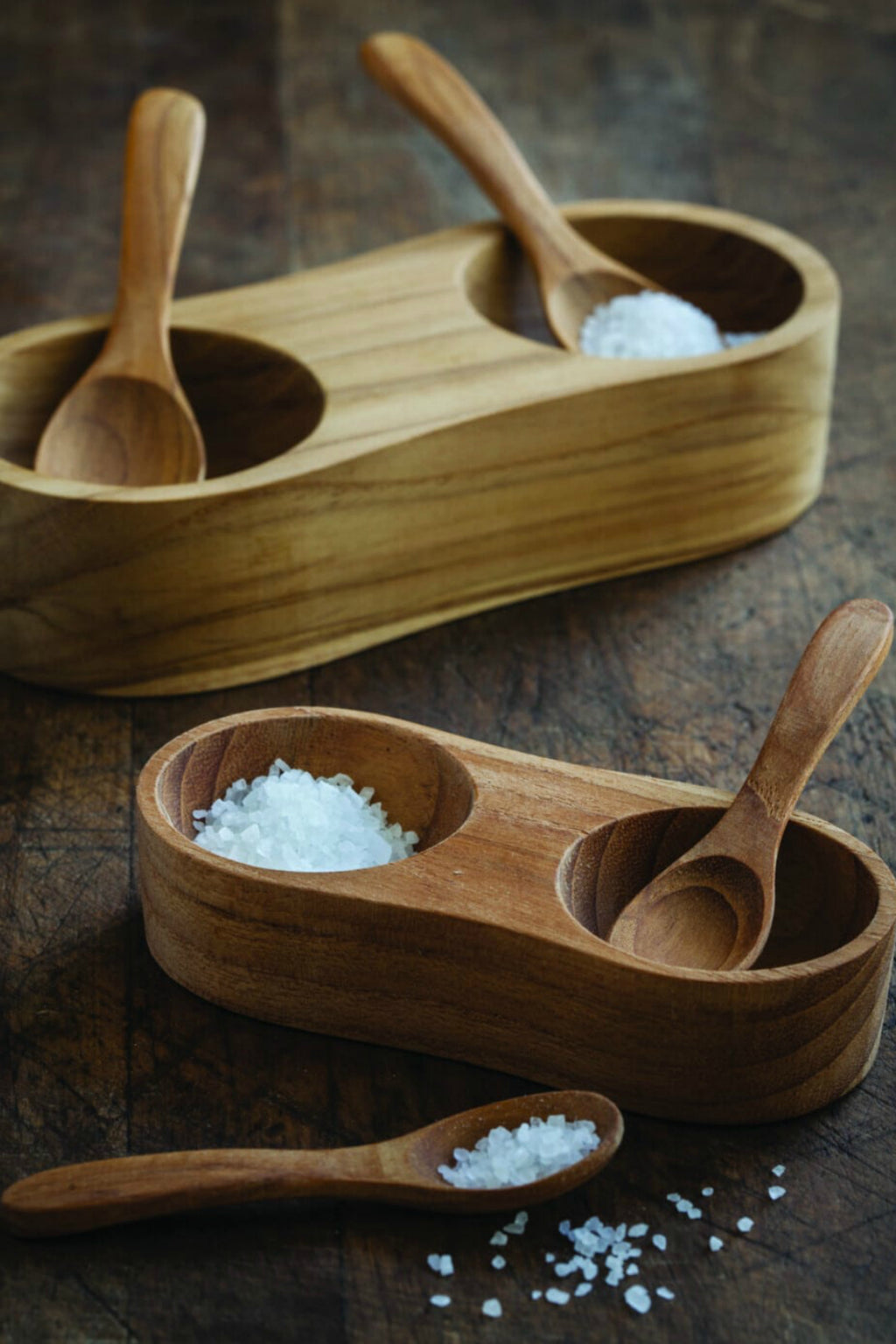 Be Home Teak Salt + Pepper Cellar with 2 Spoons