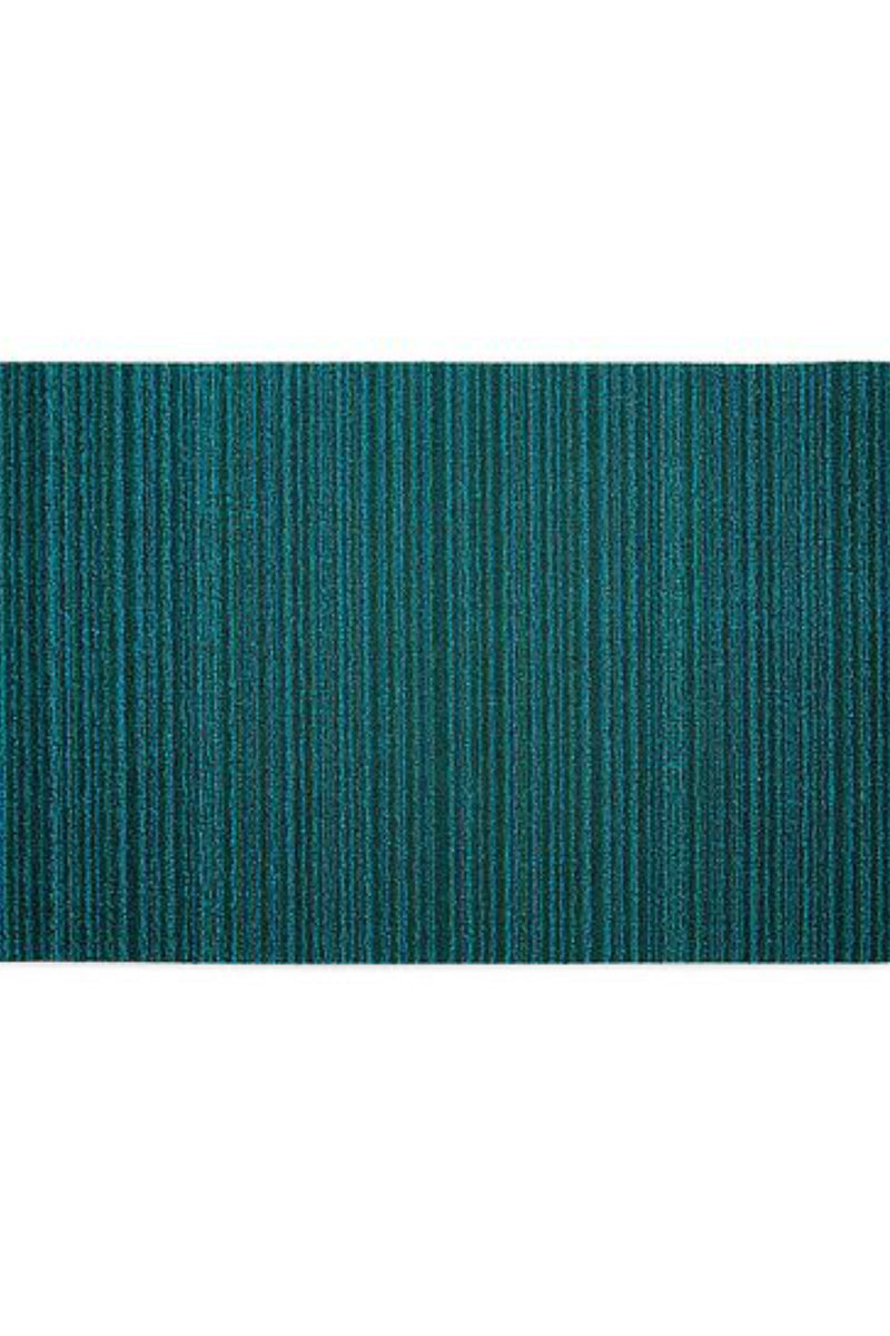 Chilewich Skinny Stripe Shag in Turquoise Utility Mat