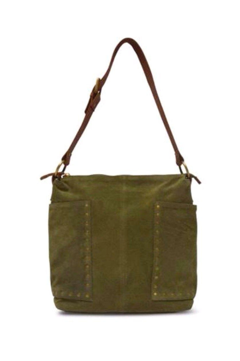 EcoVibe Style - Val Suede Studded Tote in Olive,