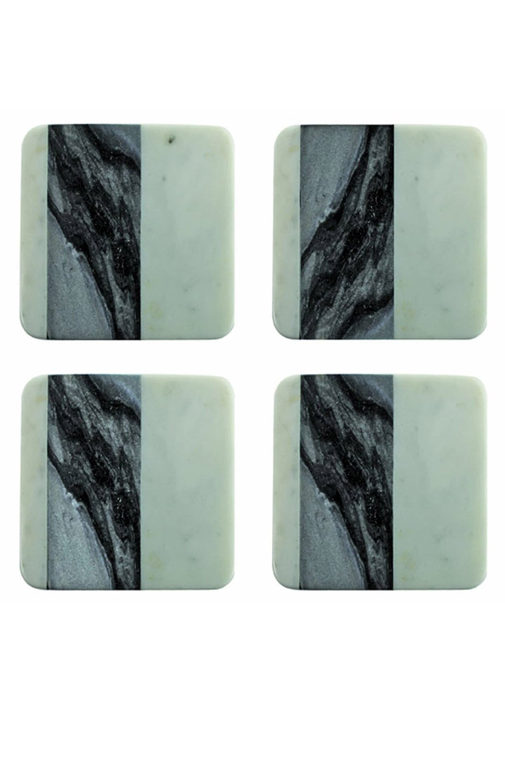 Be Home White + Gray Marble Coasters, Set of 4
