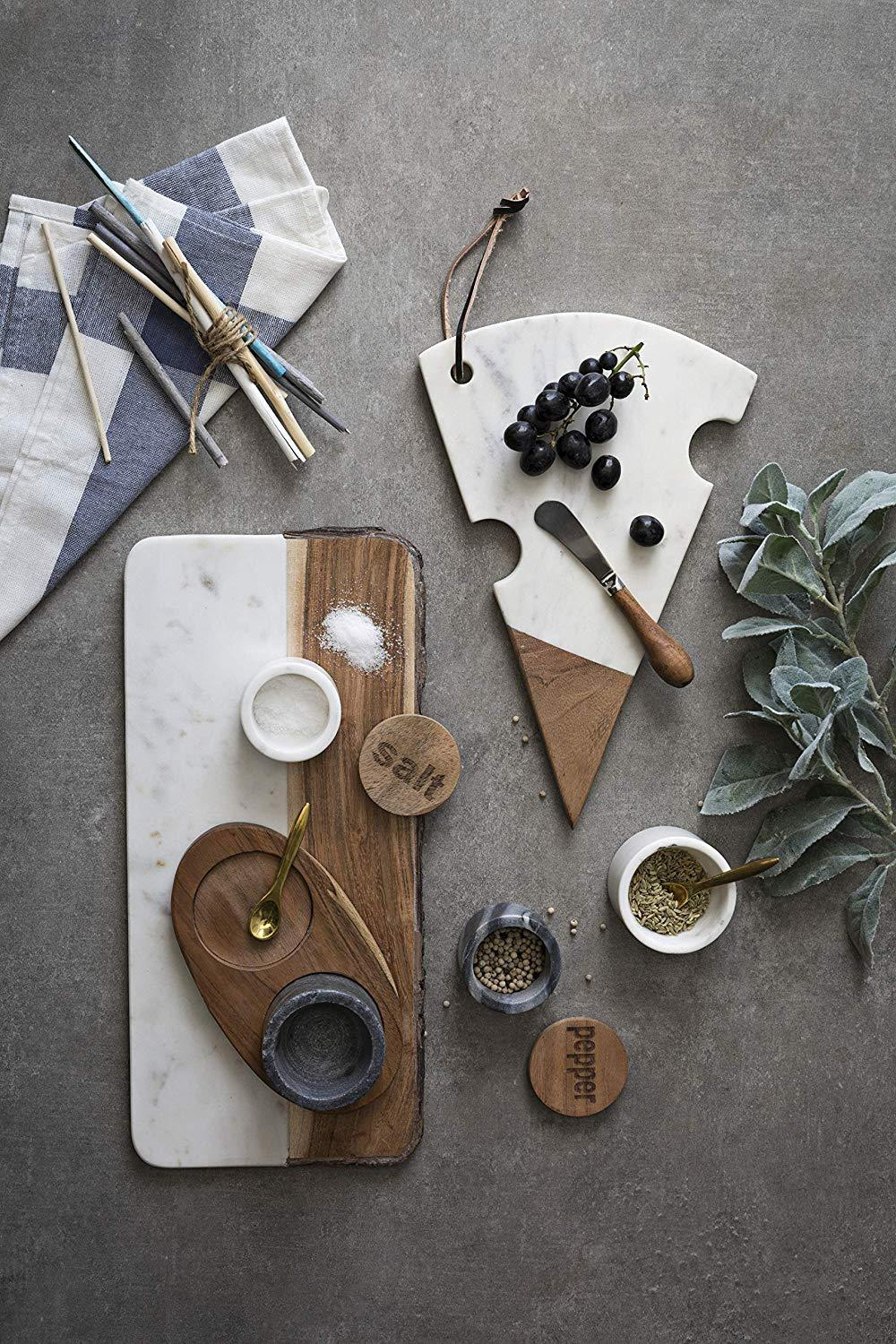 Creative Co-op White Marble + Mango Wood Live Edge Board
