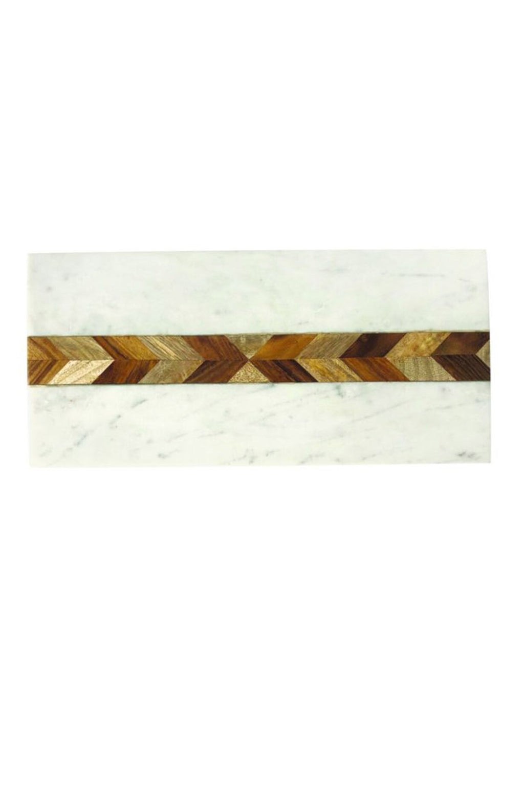 Be Home White Marble + Wood Mosaic Board