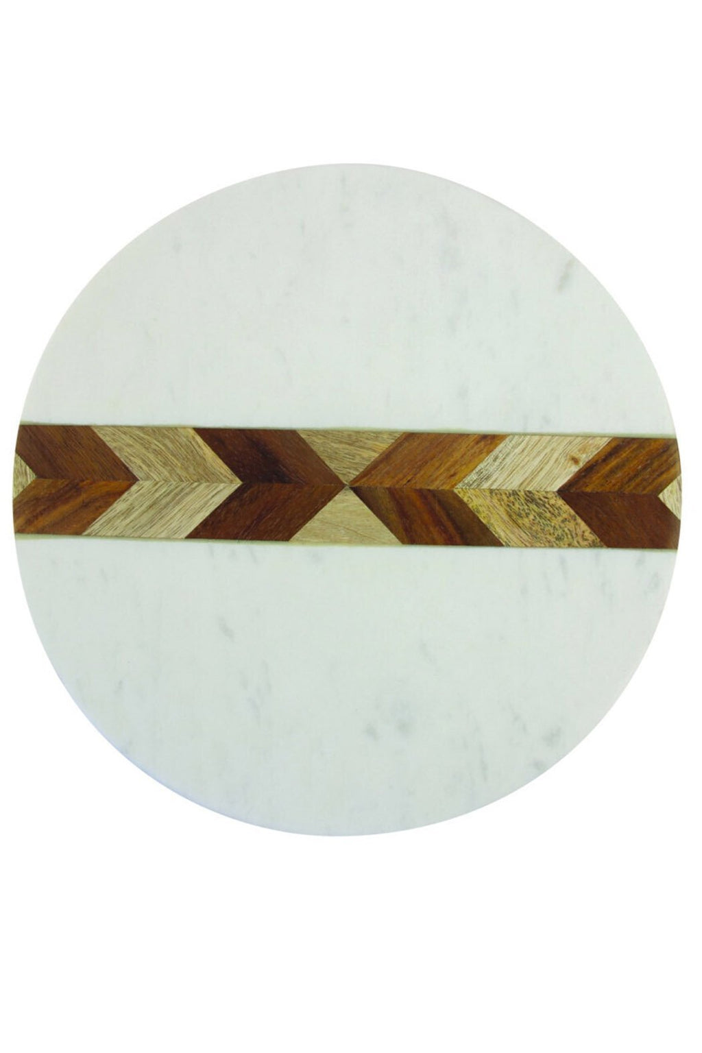 Be Home White Marble + Wood Mosaic Round Board