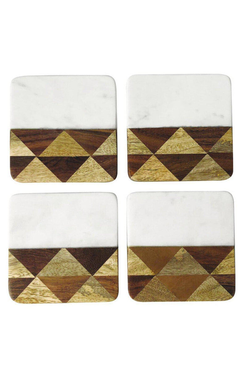 EcoVibe Style - White Marble & Wood Mosaic Square Coasters, Set of 4,