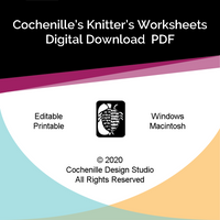Knitter's Worksheets Editable PDF (Digital Download)