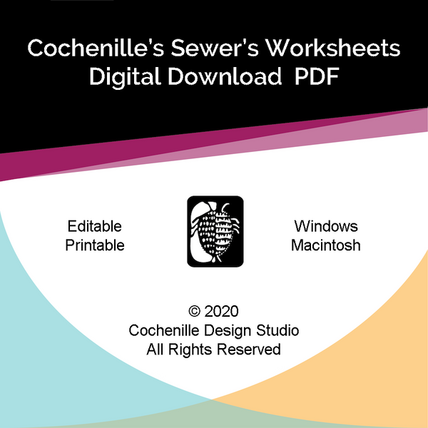 Sewer's Worksheets Editable PDFs (Digital Download) NEW
