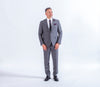 Baumler Italian Wool Grey Suit, Checkered Pattern, Semi Slim Fit, Business Suit