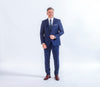 Baumler Navy Check Italian Wool Suit, Reda Wool, business wear and formalwear, great for all occasions