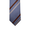 Knotz Tie, Blue with grey and burgundy stripes. Can be worn with any grey or navy suit.
